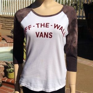 Vans Off The Wall 3/4 Sleeve T Shirt Tee Size M